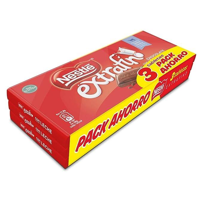 Nestlé - Chocolate con Leche Extrafino - Pack de 3 x 125 g