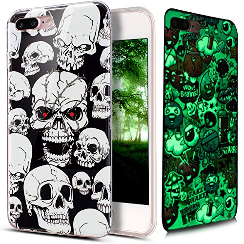 Price comparison product image iPhone 8 Plus Case,iPhone 7 Plus Case,ikasus Ultra Thin Soft TPU Case,Art Painted Luminous Soft Silicone Rubber Bumper Case,Crystal Clear Soft Silicone Back for iPhone 8 Plus / 7 Plus,Skeleton Skulls