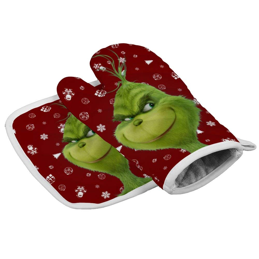 Tukiv Christmas The Grinch Oven Mitts and Pot Holders Sets Heat Resistant Kitchen Gloves Non Slip Hot Pads