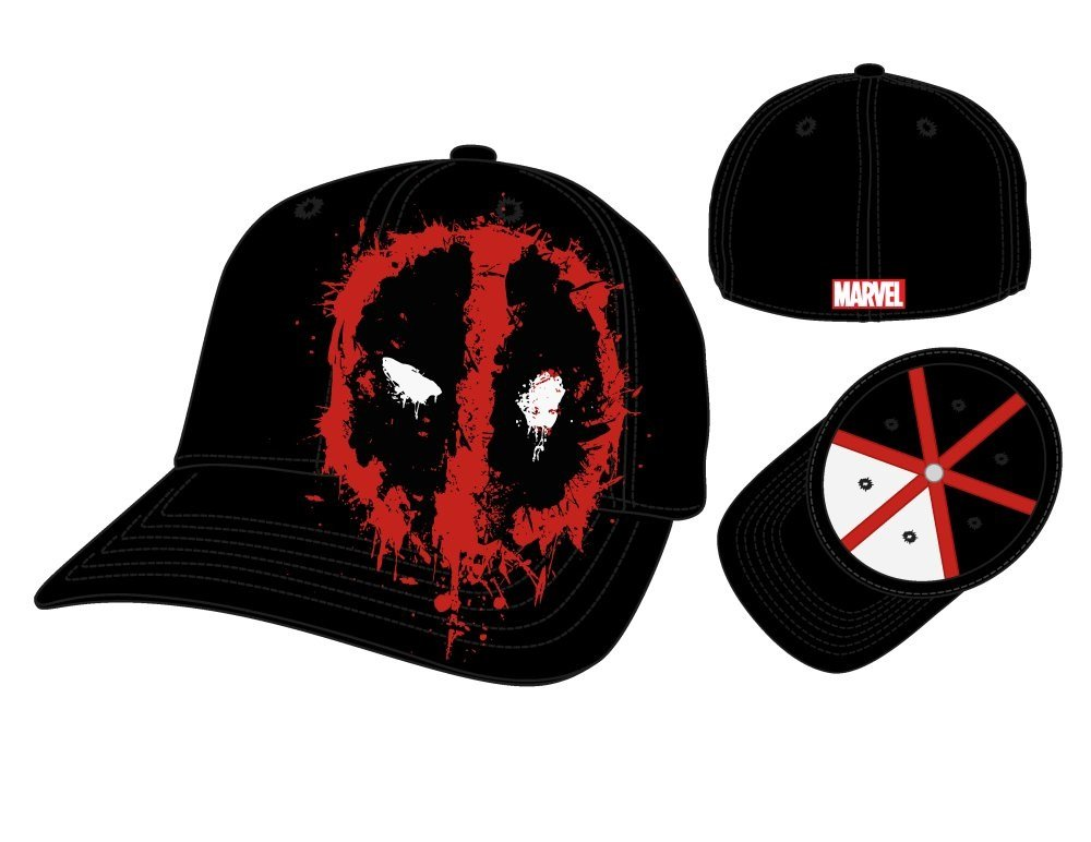 Marvel Deadpool Splattered Symbol Flex Fit Gorra De Béisbol ...