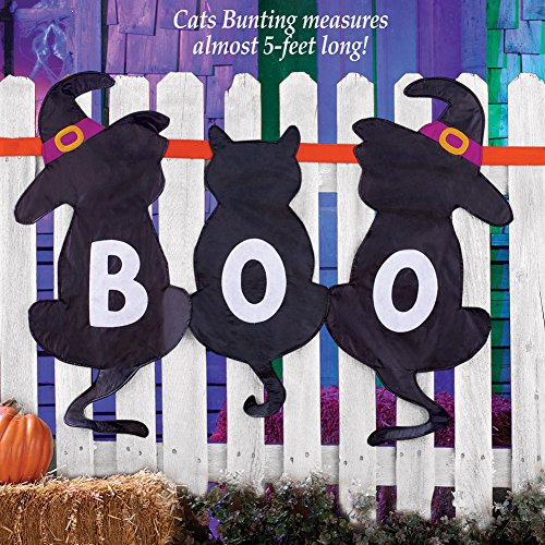 [Hanging Fence Bunting Fall Halloween Spooky Home Accent Decoration (black cats)] (House With Dancing Halloween Lights)