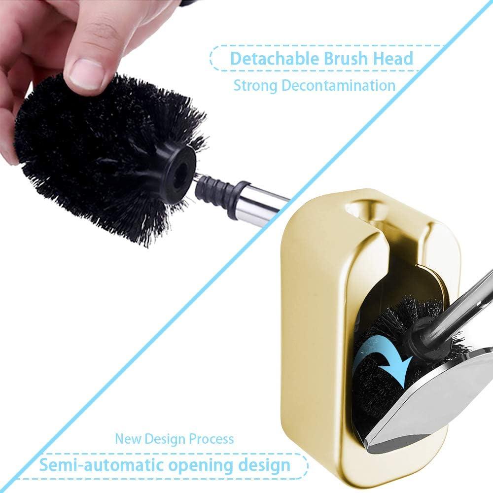 Design igienico Chiuso Bianco Extra Lungo e Resistente Scopino e portascopino per WC Iadong Manico in Acciaio Inox 304 e Supporto in ABS Spesso