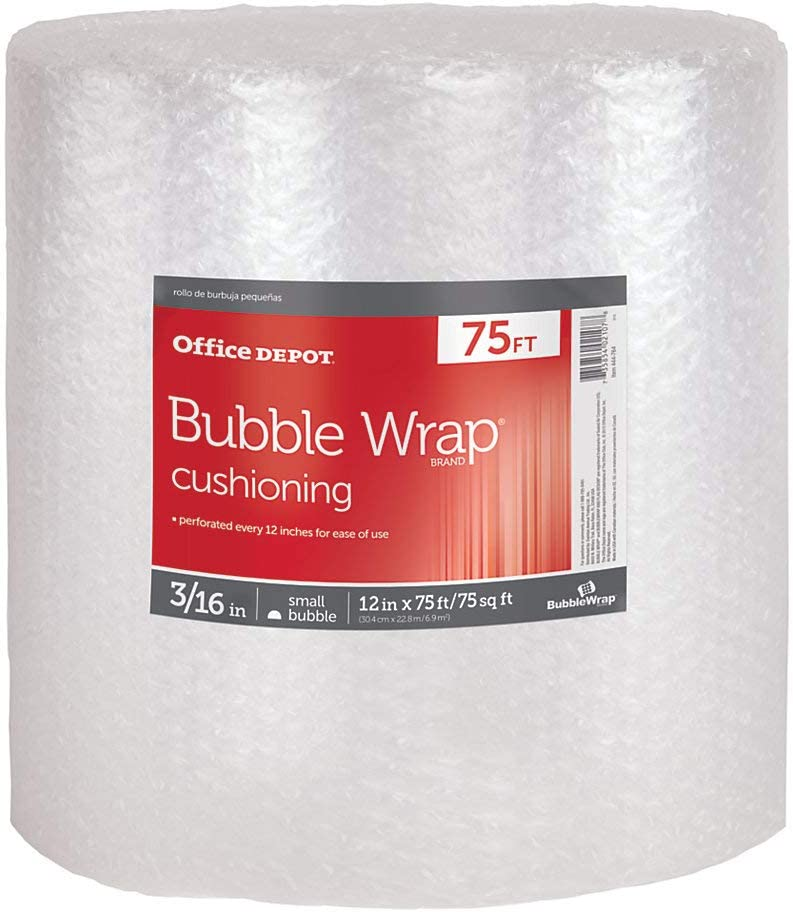 """Bubble Cushioning Wrap 3//16/"""" 75 ft Small Bubble 50 ft 12/"""" Perforated 30 ft"""