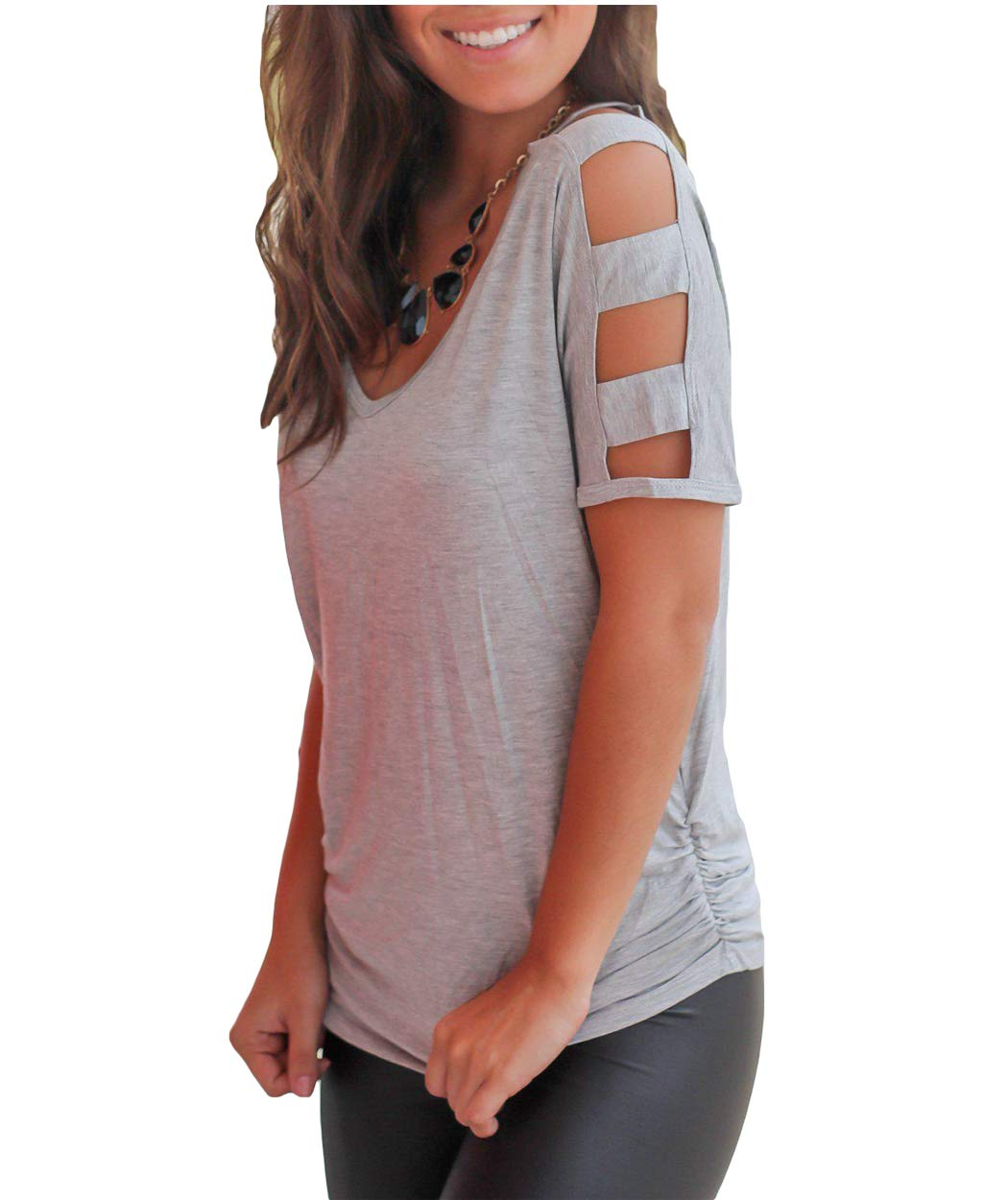 Eanklosco Womens Summer Short/Long Sleeve Cold Shoulder T Shirts Cut Out Tops V Neck Tunic Blouses (Gray, L)