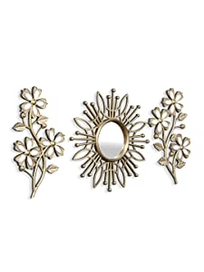 @home by Nilkamal Floral Mirror & Wall Decor Combo Set of 3, Gold
