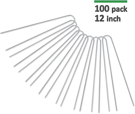 Ground Cover Pack of 25 Anchoring Landscaping AAGUT OuYi 12 Inch Garden Securing Stakes//Spikes//Pins//Pegs 11 Gauge Galvanized Steel Weed Barrier Fabric