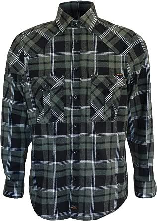 ROCK-IT Apparel® Camisa de Franela de Manga Larga para Hombres Camisa de leñador a Cuadros Fabricada en Europa Diversos Colores S-5XL