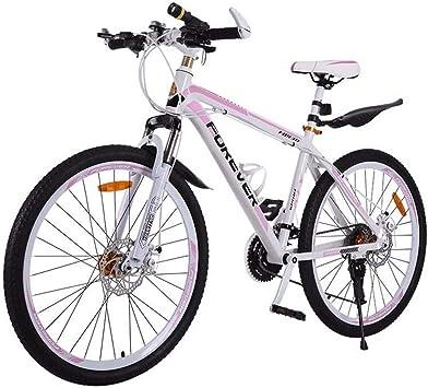 ZTIANR Montaña De La Bicicleta, Mujer De 26 Pulgadas De Bicicletas De Montaña 24/27 Velocidad De Marco De Acero Al Carbono De Doble Disco De Freno De Choque De Bicicletas para Adultos:
