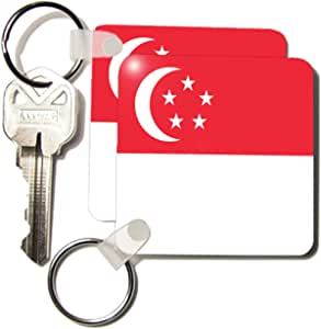 3dRose Singapore Flag - Key Chains, 2.25 x 4.5 inches, set of 2 (kc_31577_1)
