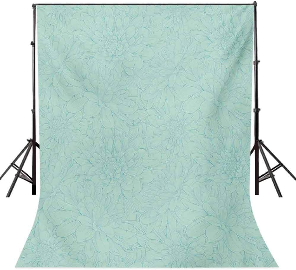 Turquoise 6.5x10 FT Backdrop Photographers,Dahlia Flowers Bouquet Hand Drawn Style with Brush Strokes Effect Ornamental Art Background for Baby Birthday Party Wedding Vinyl Studio Props Photography