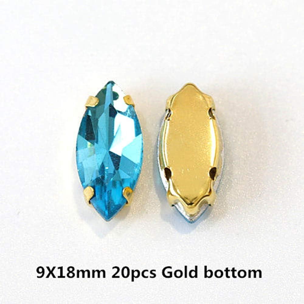 Coser Aguamarina en Diamantes de imitación con Oro/Plata Flatback lágrima Cristal Azul Strass Costura Diamantes de imitación para Vestido de Novia Y3500,9x18mm20pcs