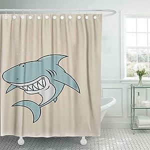 Dethel Farmhouse Shower Curtain, 66X72 Baby Shower Curtain Bath Shower Curtain Great White Shark Looking Vertical Orientation Camping Shower Curtain Cute Shower Curtain