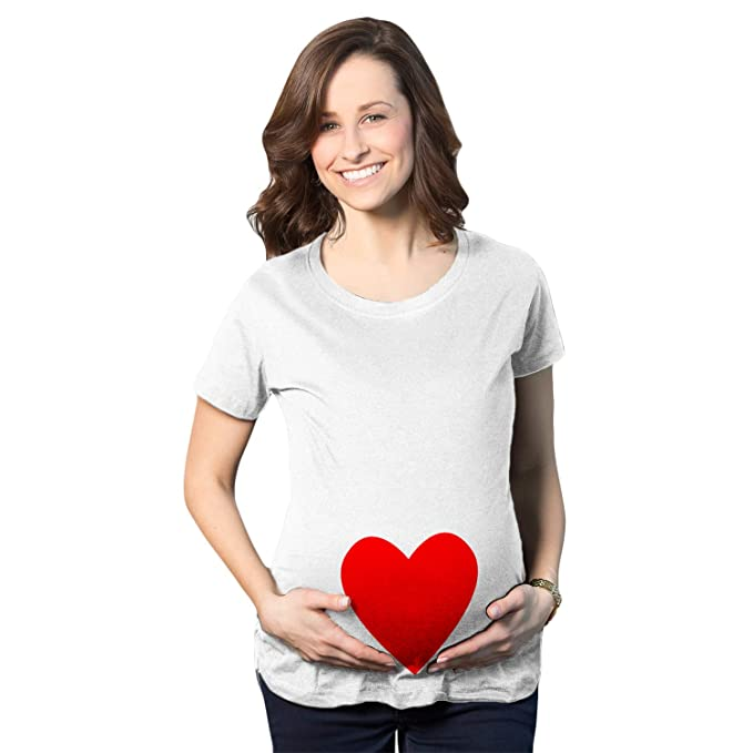 ac17fc892954c Maternity Heart Cute Baby Bump Love Pregnancy T Shirt for Expecting Moms  (White) S