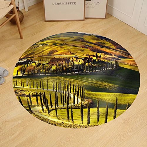 Gzhihine Custom round floor mat Tuscany Rural Sunset Landscape. Countryside Farm Cypresses Trees Green - In Cypress Outlet