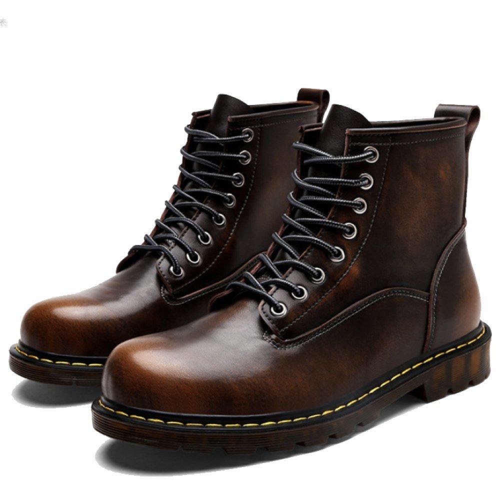 LYZGF Männer Jahreszeiten Outdoor Martin Stiefel Mode Casual Spitze Lederstiefel