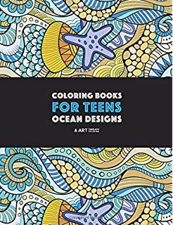 Coloring Books For Teens Ocean Designs Zendoodle Sharks Sea Horses Fish
