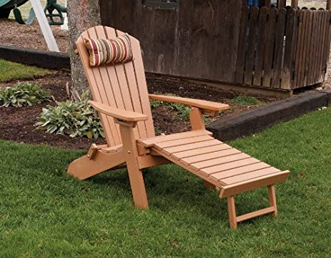 POLY Folding U0026 Reclining Adirondack Chair W/ Attached Ottoman   Amish Made  USA   Bright