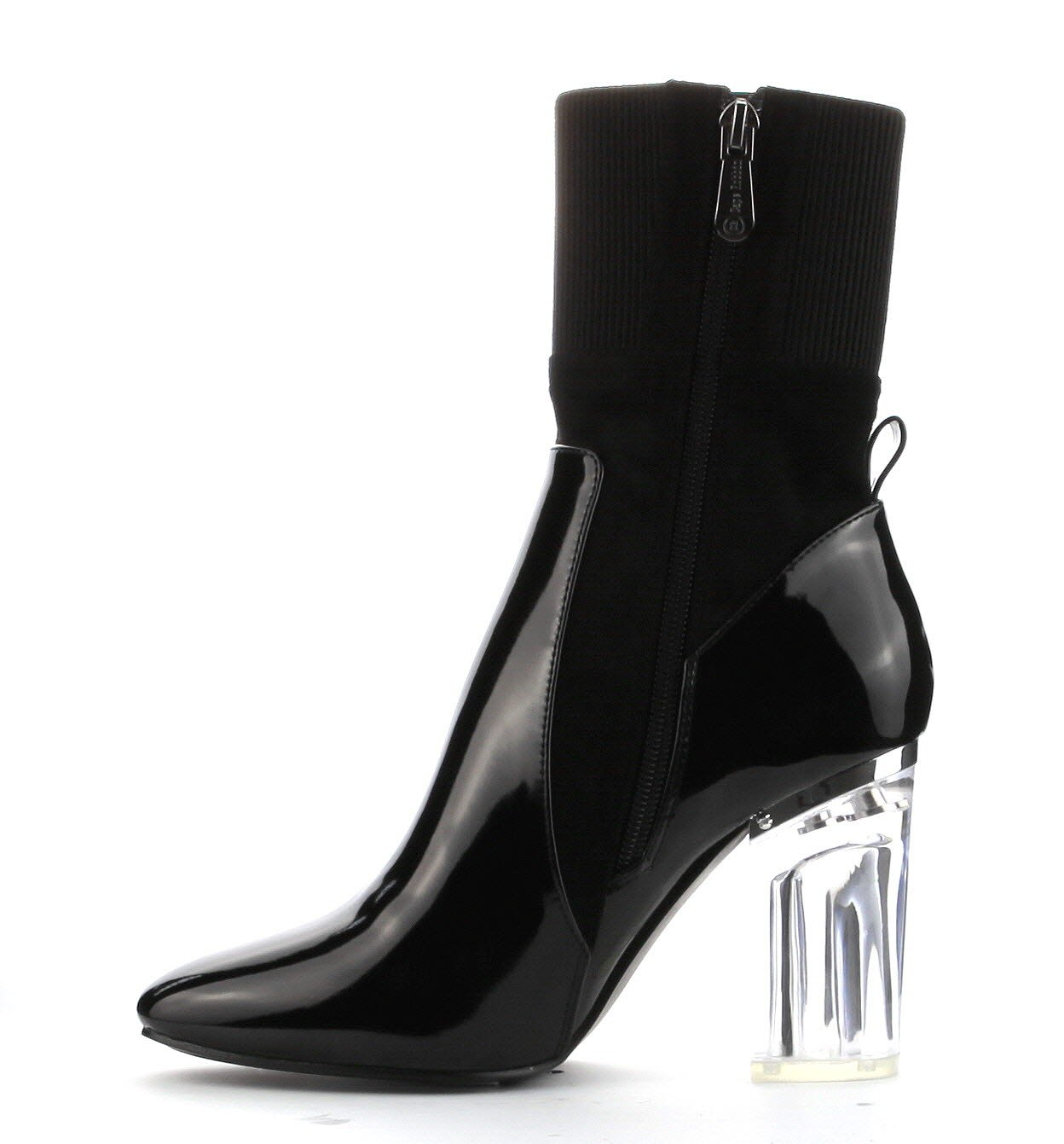Cape Robbin Fay-1 No Frontin Glass Heel Stretch Ankle Boot (10, Feel-1Black)