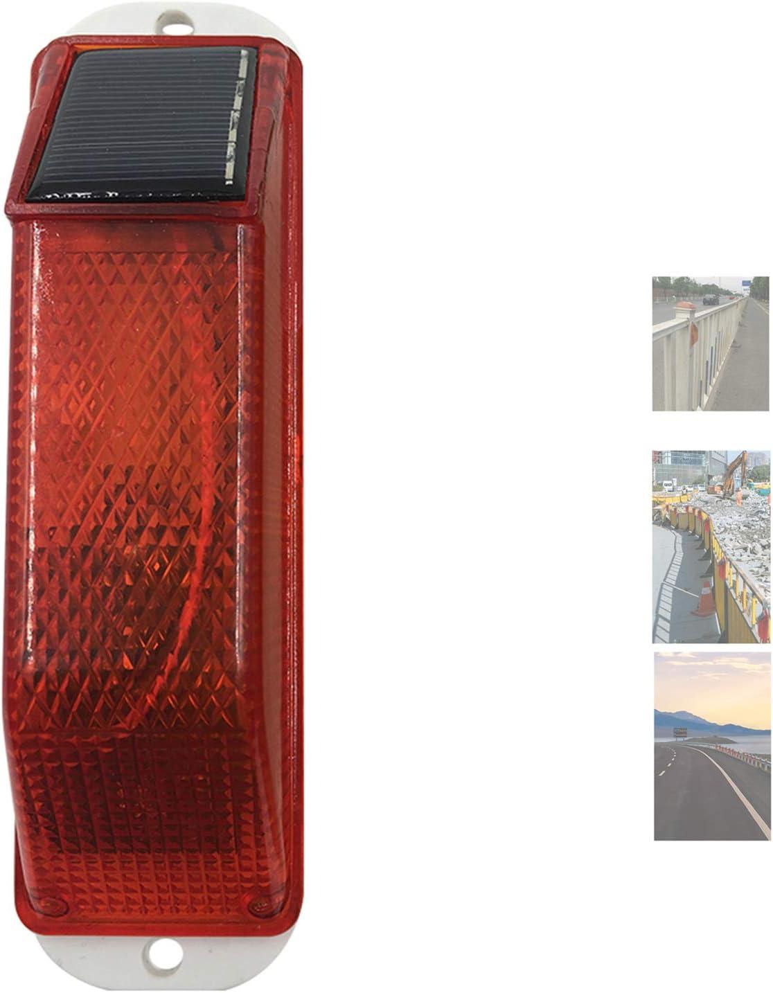 Solar Warning Light Sensitive Strobe Flash Warning LED Caution Lamp Flashing Barricade Safety Sign Road Construction Signs Flash Traffic Lights Flicker Beacon Lamps (Red)