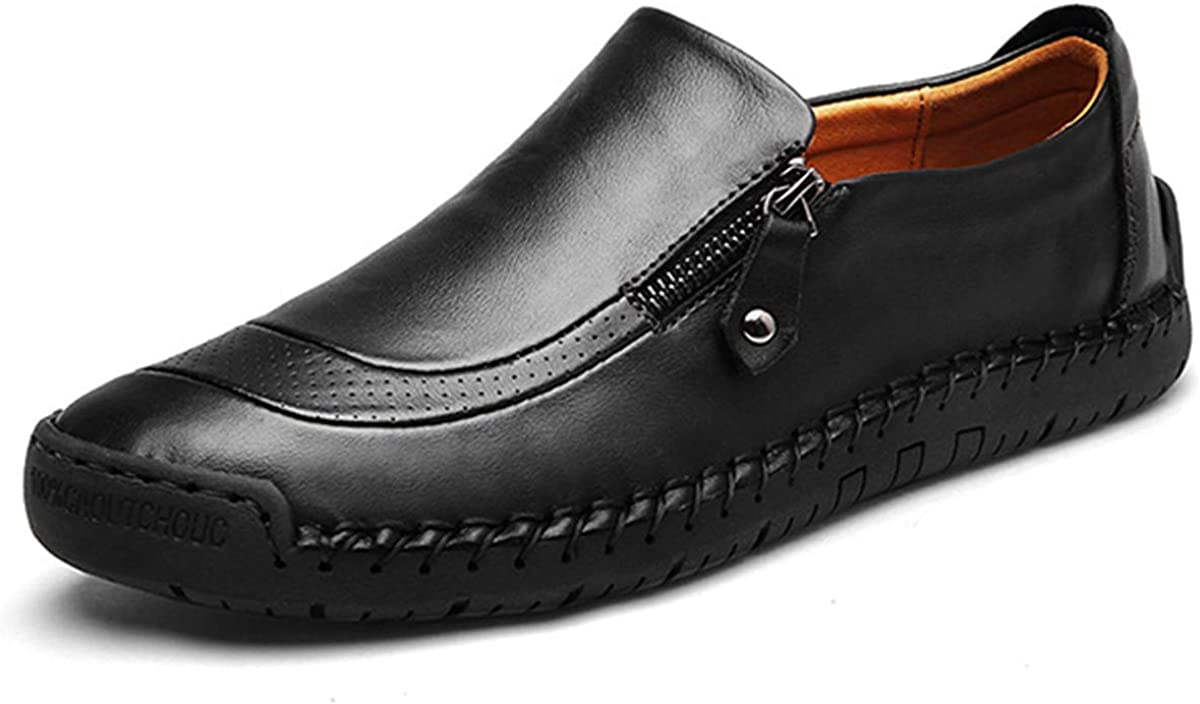 gracosy Slip-On Shoes Mens Leather Hand Stitching Zipper Non-Slip Oxford Casual Leather Loafers Driving Walking Shoes