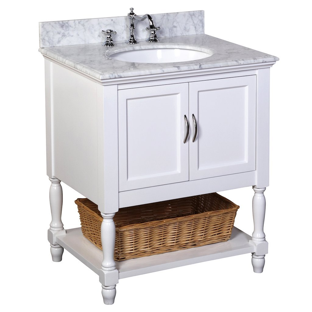 Beverly 30-inch Bathroom Vanity Carrara White Includes an Italian Carrara Marble Countertop, a White Cabinet, and a Ceramic Sink