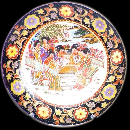 Ladies with Fans At Tea Time Plate with Dark Border (Chinese Plates)