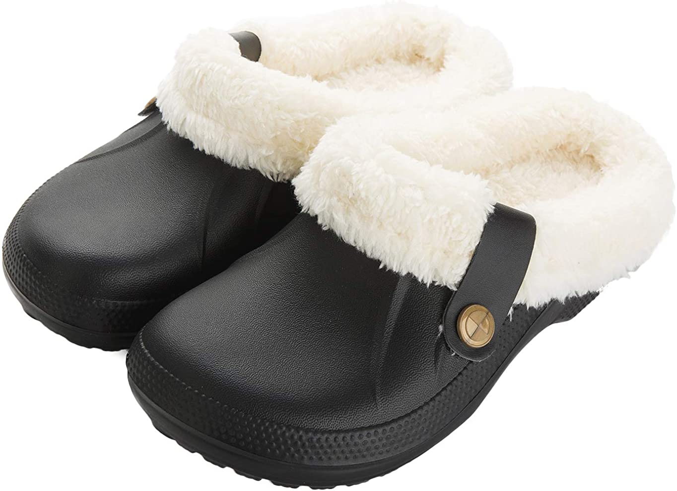 | ChayChax Waterproof Slippers Women Men Fur Lined Clogs Winter Garden Shoes Warm House Slippers Indoor Outdoor Mules | Mules & Clogs