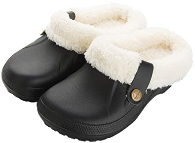 be7f86bc094f Waterproof Slippers Women Men Fur Lined Clogs Winter Garden Shoes Warm  House Slippers Indoor Outdoor Mules