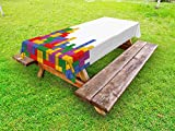 Lunarable Boy's Room Outdoor Tablecloth, Tetris Old Game Colorful Bricks Cubes Mosaic Form Vintage Technology Puzzle, Decorative Washable Picnic Table Cloth, 58 X 120 Inches, Multicolor