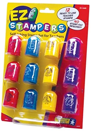 Educational Insights 1660 Ez Stampers Self Inking Teacher Stamp Set
