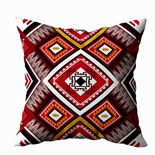 Musesh Holiday Throw Pillow Case, Geometric Ethnic Pattern Design Background Wallpaper for Sofa Home Decorative Pillowcase 18X18Inch Pillow Covers