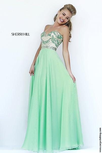 Sherri Hill 1942 Luz Verde Vestido Sin Tirantes Largo UK 4 (US 0)