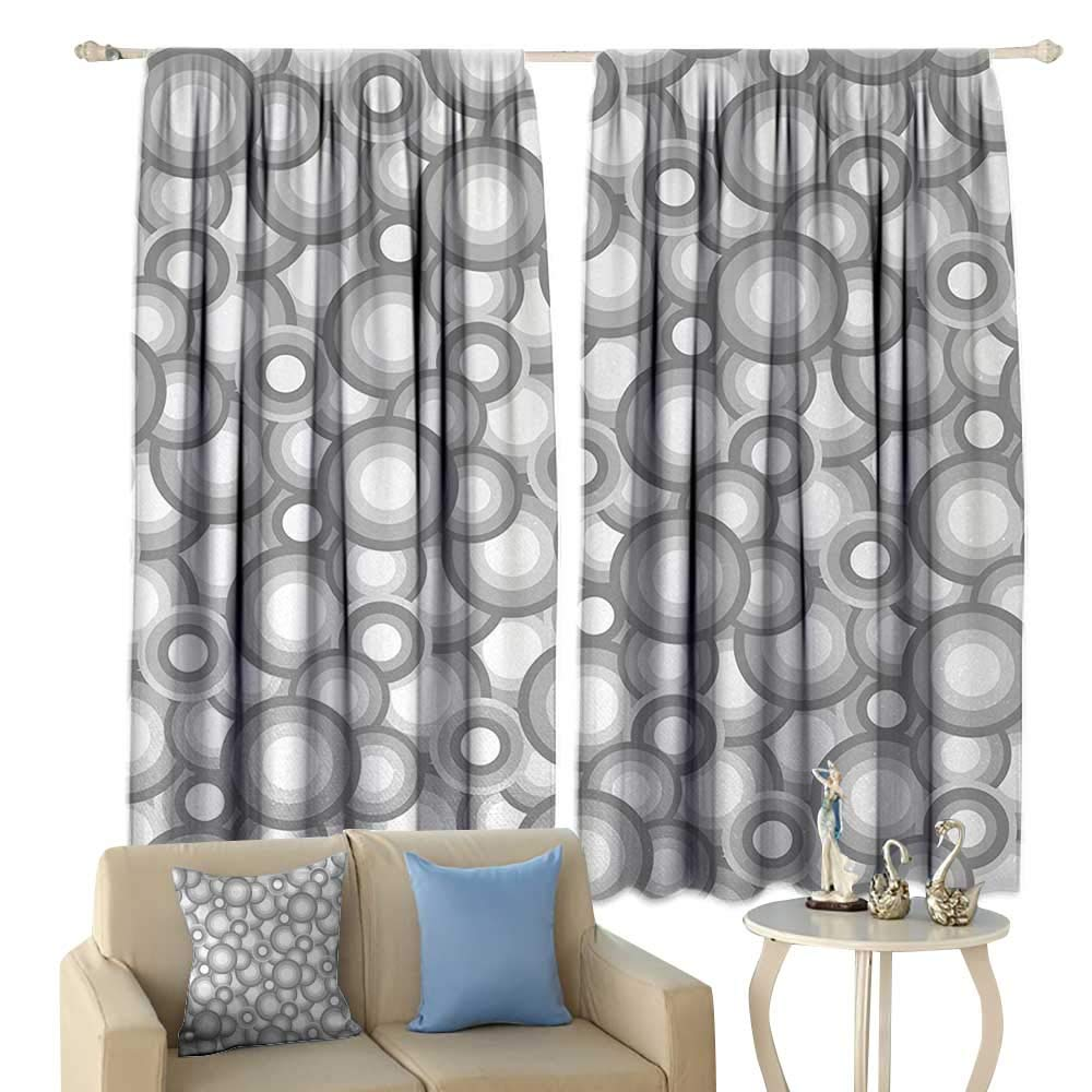 HoBeauty Abstract, Thermal Insulating Blackout Curtain, Various Sized Balls Spiral Circular Formed Round Figures Retro Stylized Art Image, Blackout Draperies for Bedroom,(W72 x L63 Inch, Grey White