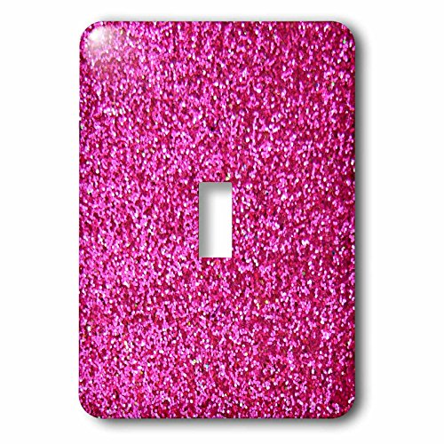 3dRose lsp_112888_1 Hot Pink Faux Glitter - photo of glittery texture - girly trendy - glamorous sparkly bling effect Single Toggle Switch ()
