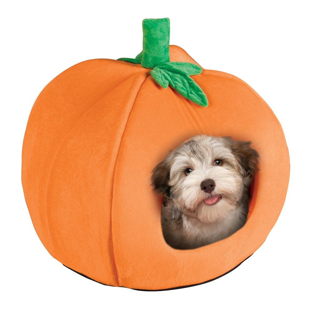 Collections Etc Adorable Halloween Pumpkin Pet Bed for Cats or Dogs