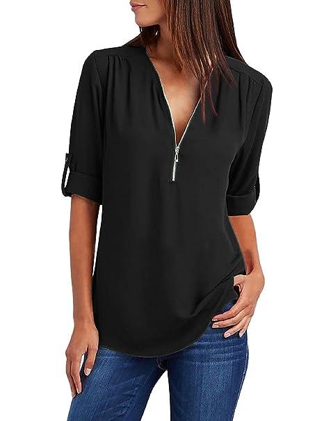 cf9bbbdada41 Tuopuda Bluse Donna Camicette Camicia Chiffon Scollo T-Shirt Camicie Felpa  Donna Magliette Manica Lunga Cerniera Eleganti Casual Taglie Forti Sciolto  Tunica ...