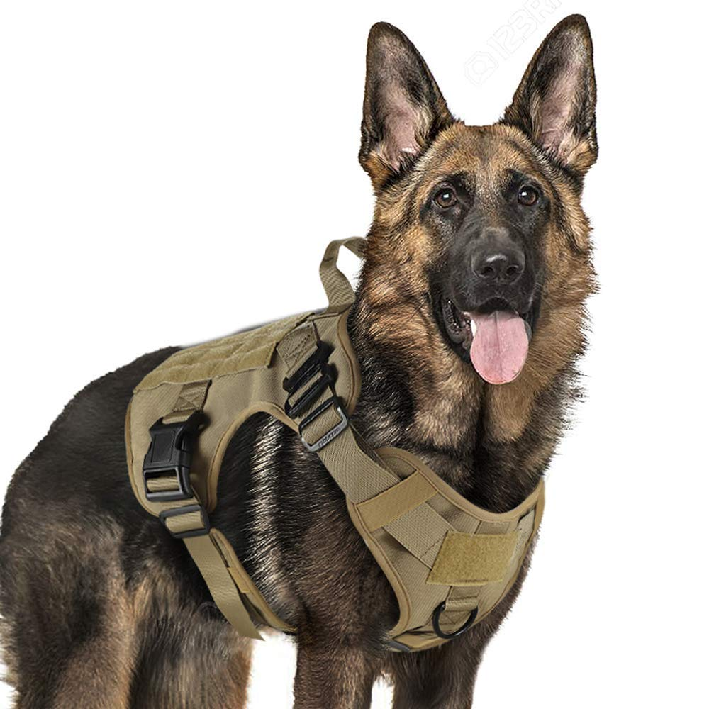 Tactical Dog Harness Vest Large with Handle, Military Dog Harness Working Dog Vest with MOLLE & Loop Panels, No-Pull Adjustable Training Vest with Metal Buckles & Leash Clips for Outdoor Hiking by Rabbitgoo