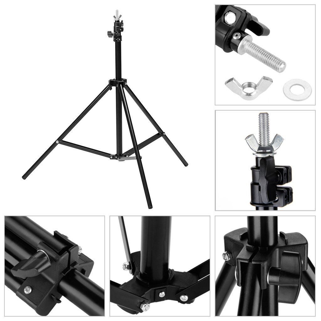 CRAPHY Portable Photo Studio 10 x 6.5ft Background Stand Kit Backdrop Support System with Muslin Cotton Background (Green Black White, 9ft x 6ft) and Carrying Bag by CRAPHY (Image #5)