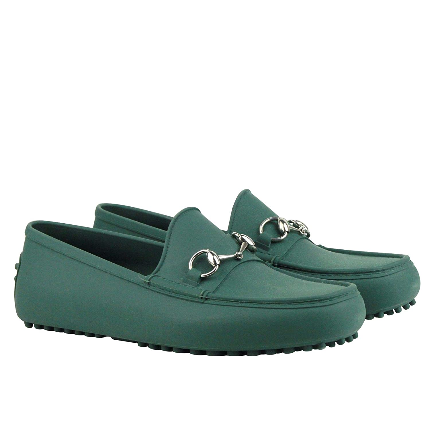 83a745800ca Amazon.com  Gucci Silver Horsebit Green Rubber Loafer Shoes 386586 3020 (11  G   11.5 US)  Shoes