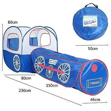 Patio Interior túnel Igspfbjn Tienda de Juegos de Trenes para niños Patio de Juegos Color : Azul portátil Plegable