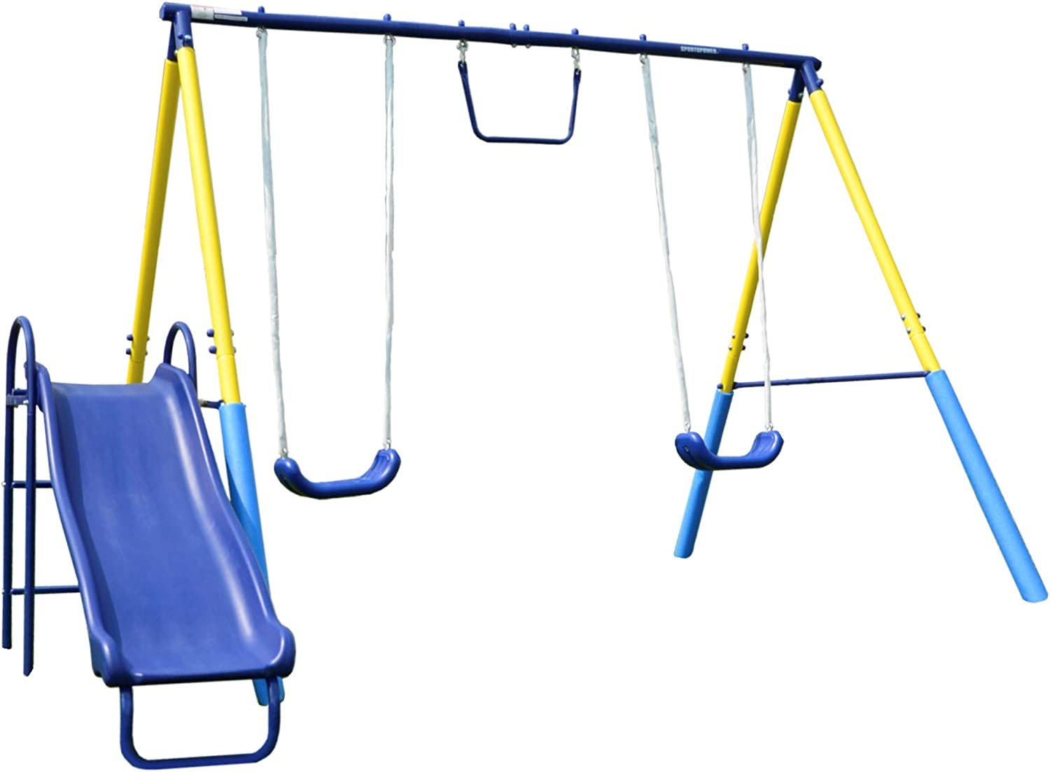 Sportspower My First Metal Swing Set with Slide Green//White