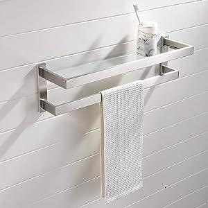 Wenore Home Modern Brushed Nickel Wall Mounted Stainless Steel Bathroom Towel Rack, Double Bathroom Shelf Towel Bar with Glass