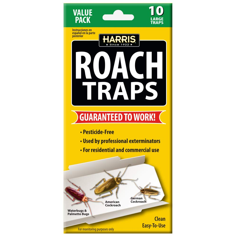 Harris Roach Glue Traps, Non Toxic and Pesticide Free (10-Pack) by Harris