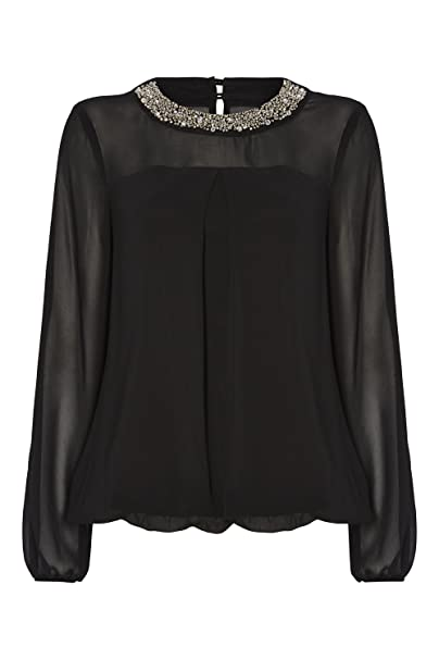 02153c65e1028 Roman Originals Women s Black Embellished Round Neck Collar Chiffon Sleeve  Top - Ladies Workwear Fashion Bubble