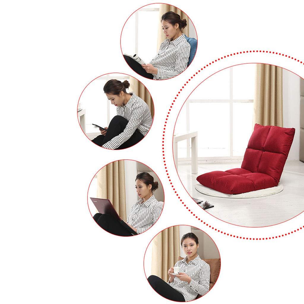 Golvstol lat soffa med bomull linne tygmeditationsstol med ryggstöd 5-stegs justerbar behandling ryggsmärta för vänner som samlar vilande ensam, bredd 55 cm tjocklek 12 cm BLÅ