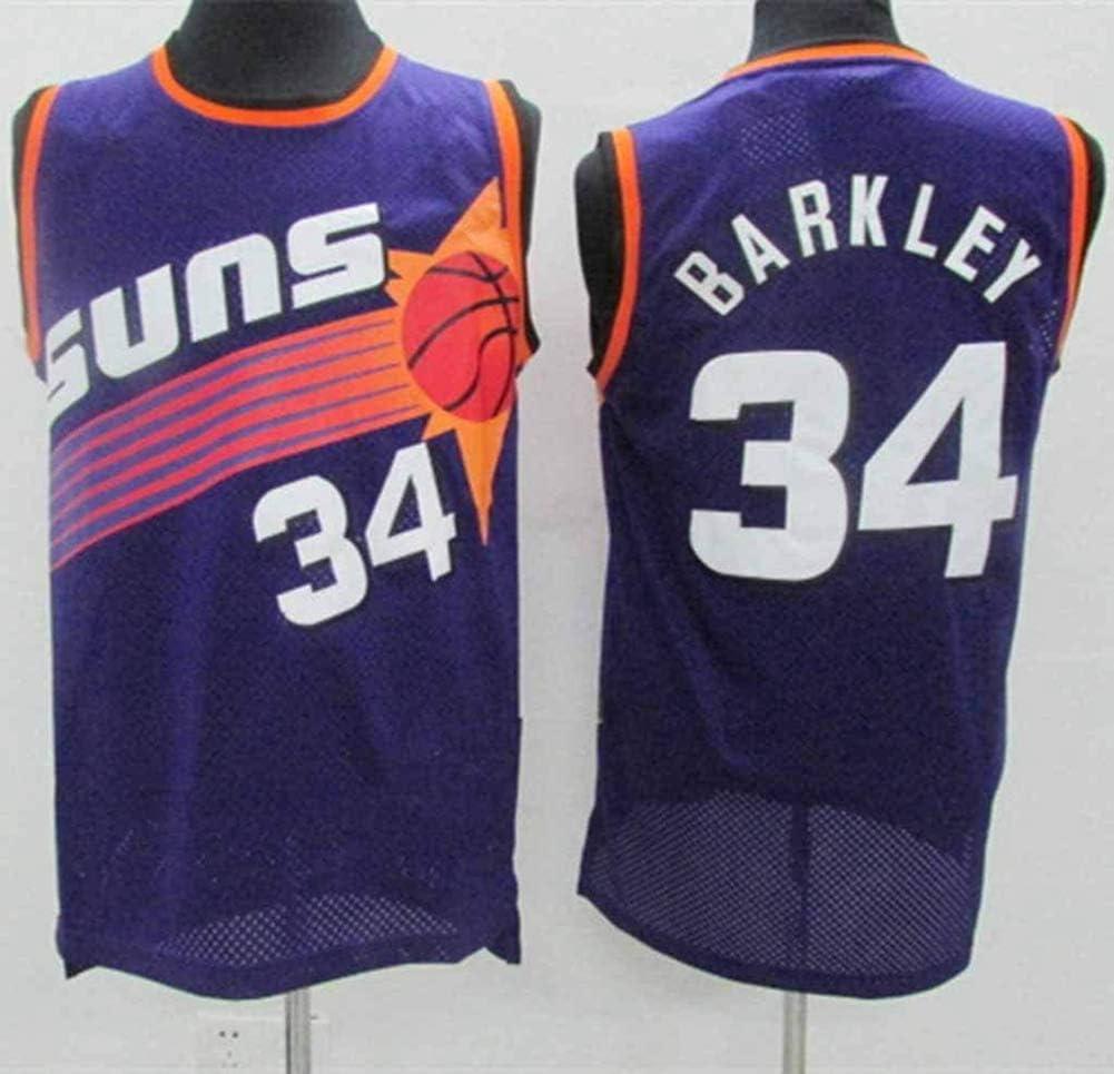 TGSCX NBA Phoenix Suns Jersey # 34 Charles Barkley Mangas de Camisa Baloncesto Jersey Transpirable Baloncesto de la Manera del Chaleco de los Hombres