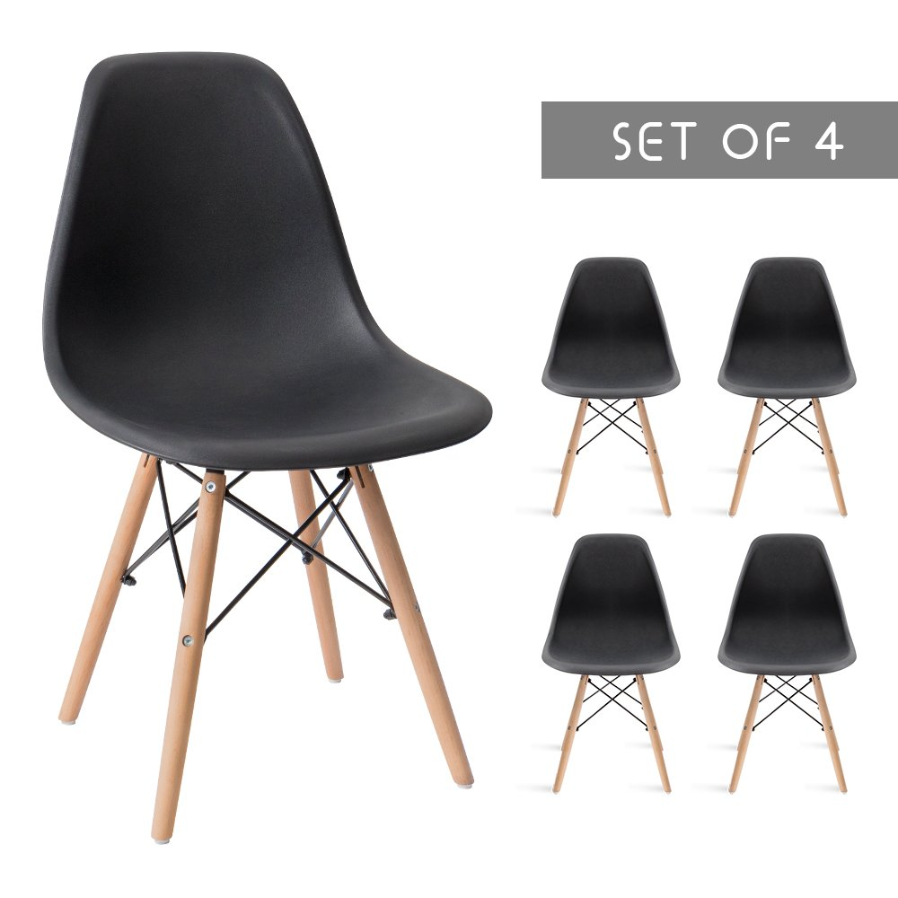 Devoko Mid Century Modern Style Pre Assembled Dining Chair DSW Classic Plastic Side Chair Armless Living Room Chairs Set of 4 (Black)