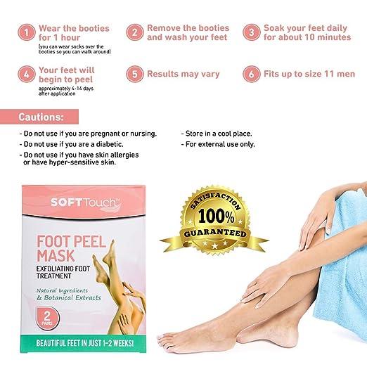 Soft Touch Foot Peel Mask, Exfoliating Callus Remover (2 Pairs Per Box)