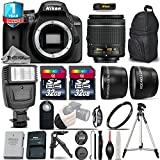 Holiday Saving Bundle for D3400 DSLR Camera + 18-55mm VR Lens + 0.43X Wide Angle Lens + 2.2x Telephoto Lens + Flash + Tripod + UV Filter + 1yr Extended Warranty + 64GB - International Version