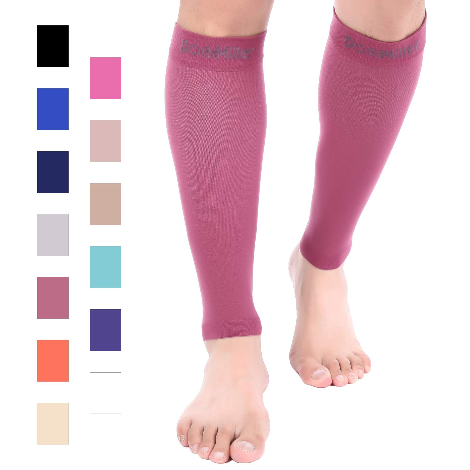Doc Miller Premium Calf Compression Sleeve 1 Pair 20-30mmHg Strong Calf Support Graduated Pressure for Sports Running Muscle Recovery Shin Splints Varicose Veins (Maroon, 2-Pack, 3X-Large) by Doc Miller